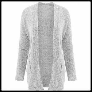 Sweaters - Long Sleeve Grey Knit Cardigan